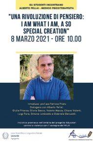 """Incontro con  ALBERTO PELLAI:  """"UNA RIVOLUZIONE DI PENSIERO:I AM WHAT I AM, A SO SPECIAL CREATION"""""""